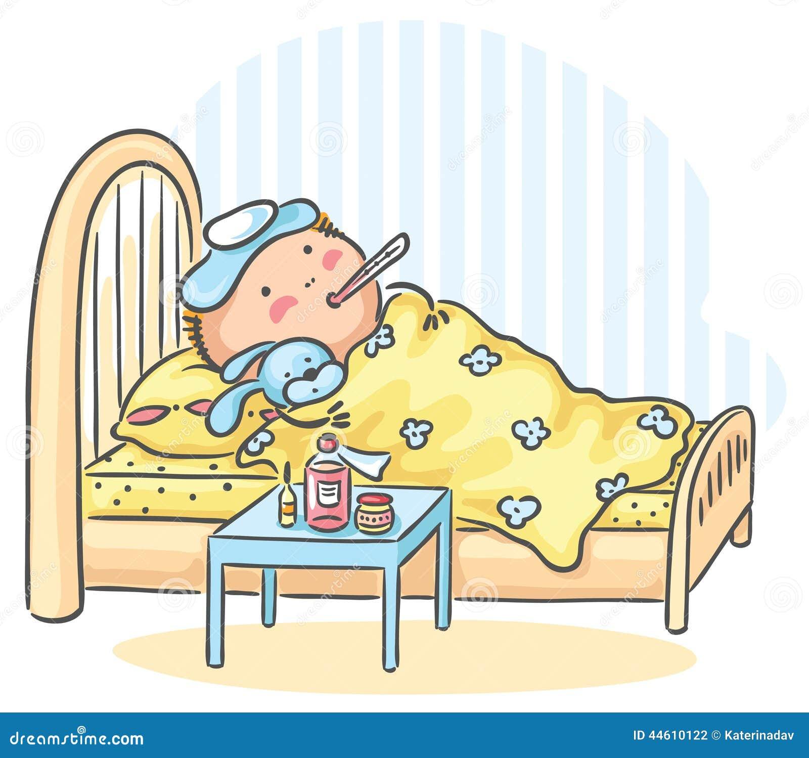 kind hat grippe und liegt im bett mit einem thermometer