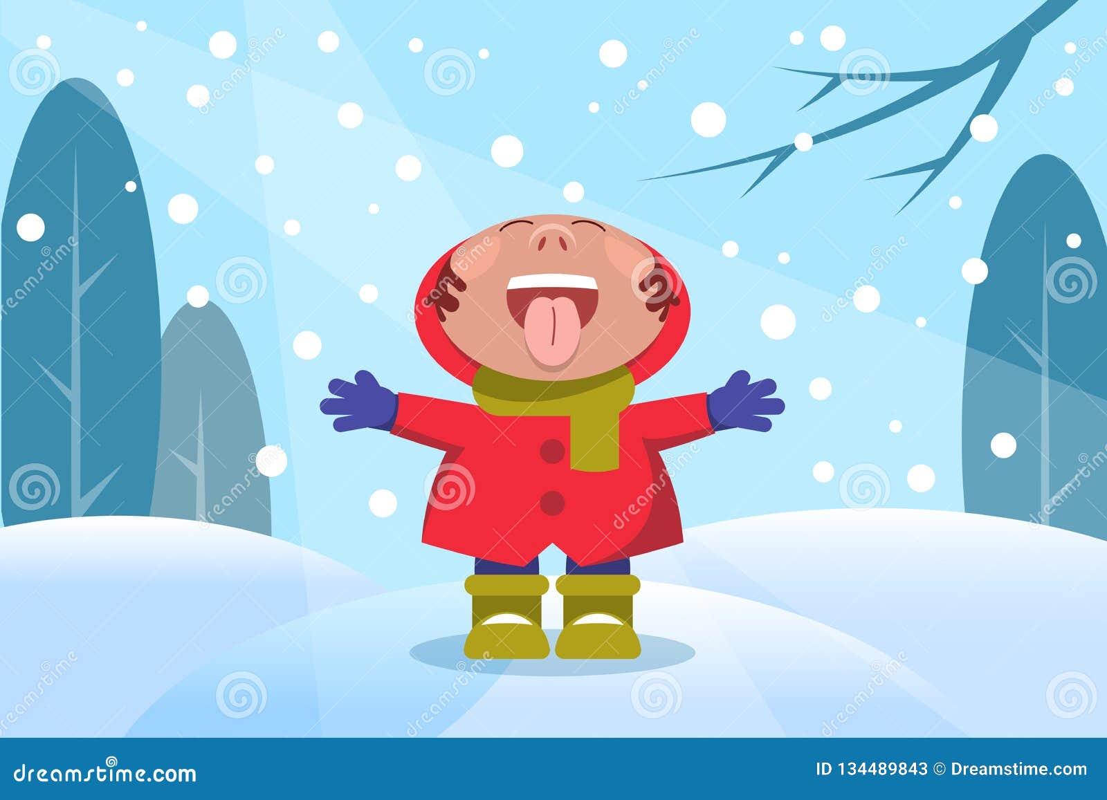 Kind im Winterwald mit Schneeflocken
