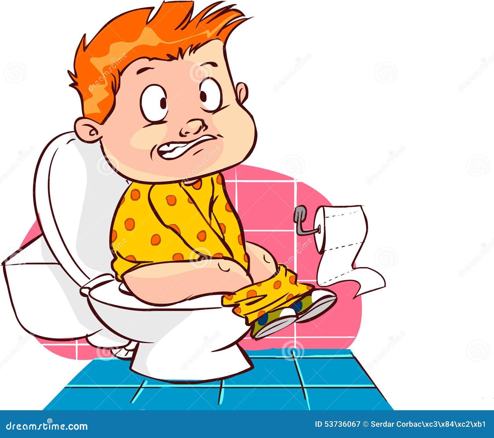 Kind Op Toilet.Kind Op Toilet Vector Illustratie Illustratie Bestaande Uit