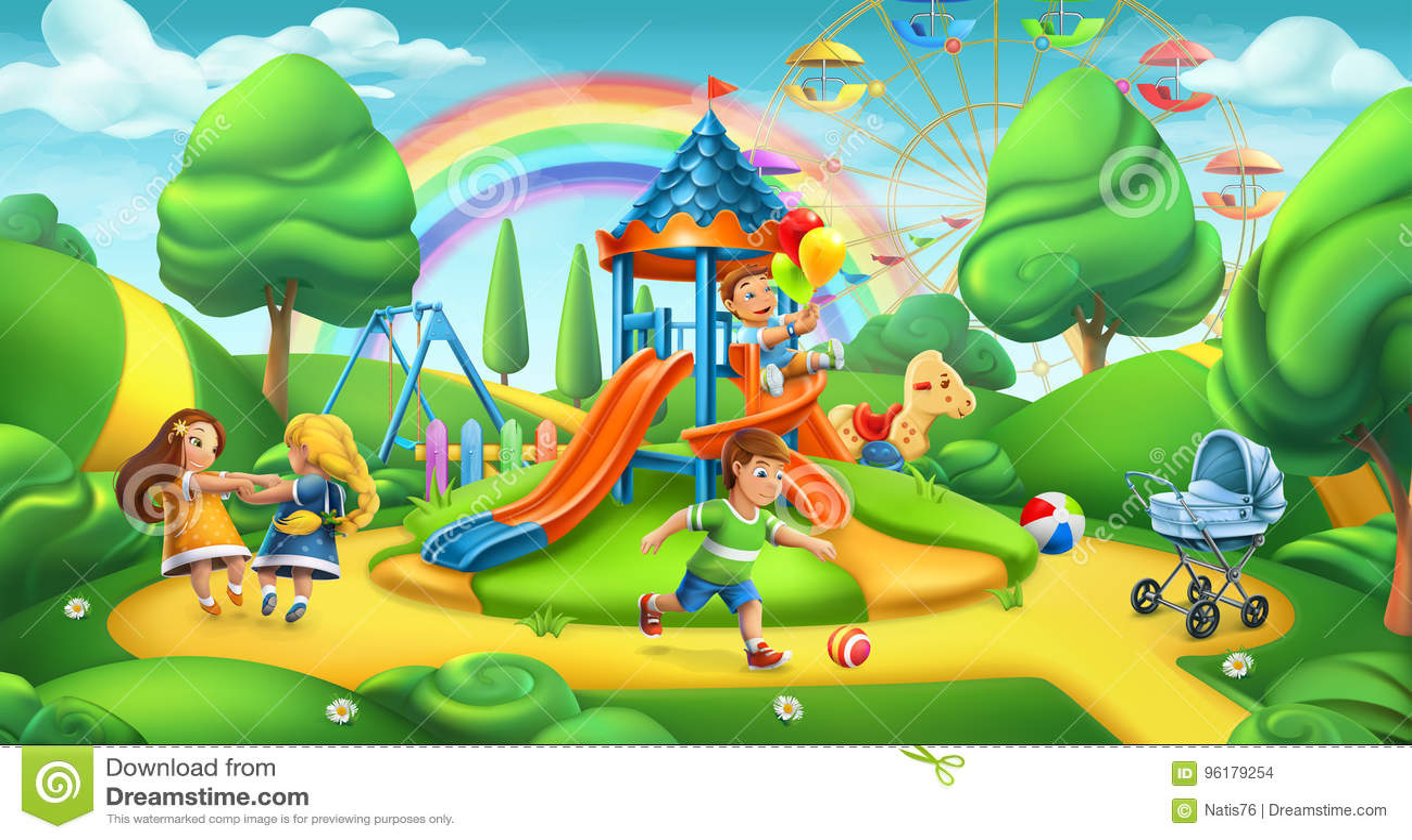 Kind-Spielplatz 2 Naturlandschaft, Parkvektorpanorama