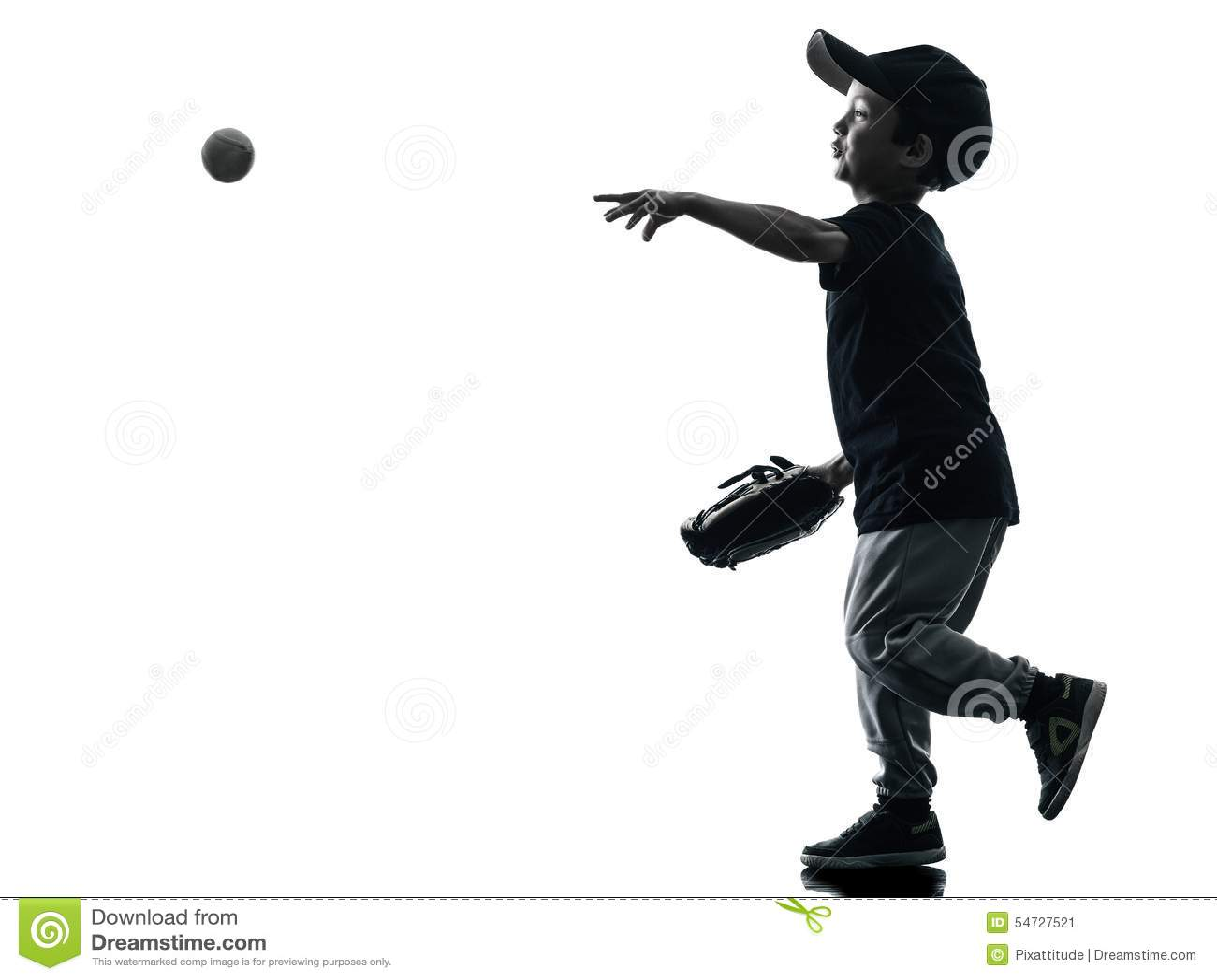 Kind, welches das Softballspielerschattenbild lokalisiert spielt