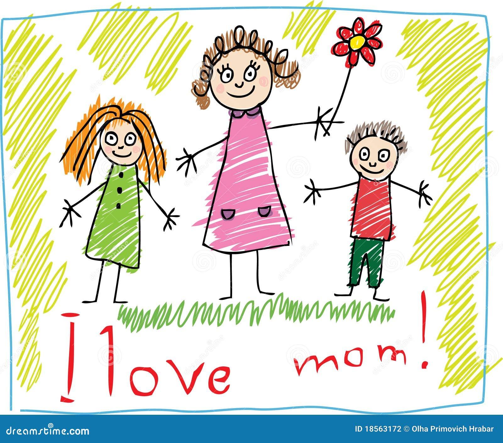 Kind-Zeichnen. Der Tag des Mutter