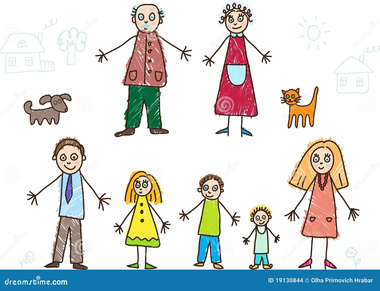 Kind-Zeichnen. Familie vektor abbildung. Illustration von großvater ...