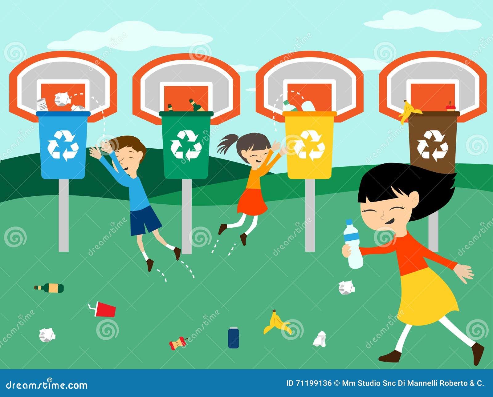 Kinder bereiten das Spielen am Korb mit Wiederverwertungsbehälter-Vektorillustration auf