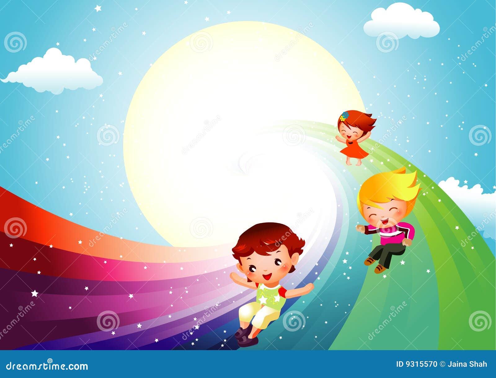 Kinder, die auf Regenbogen schieben
