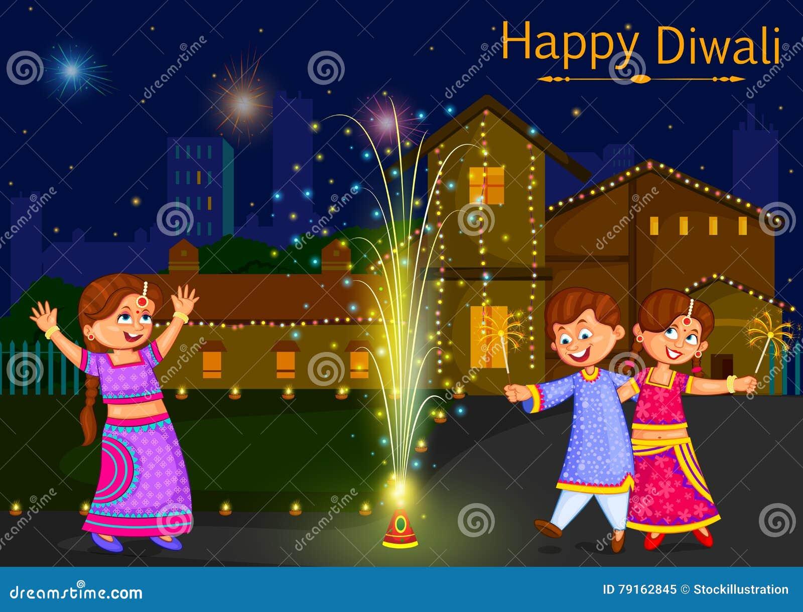Kinder, die den Kracher feiert Diwali-Festival von Indien genießen