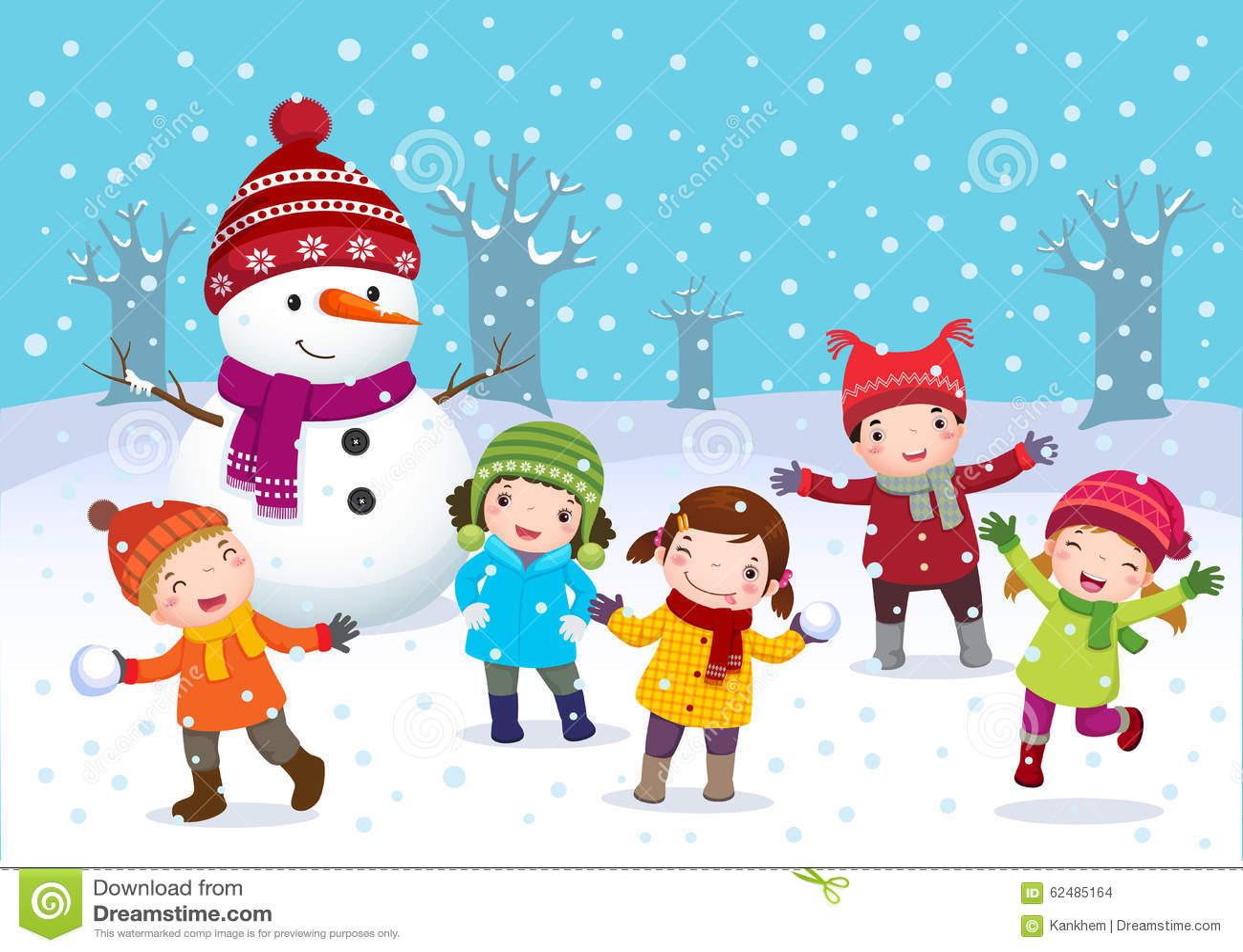 Kinder, Die Draußen Im Winter Spielen Vektor Abbildung  Bild
