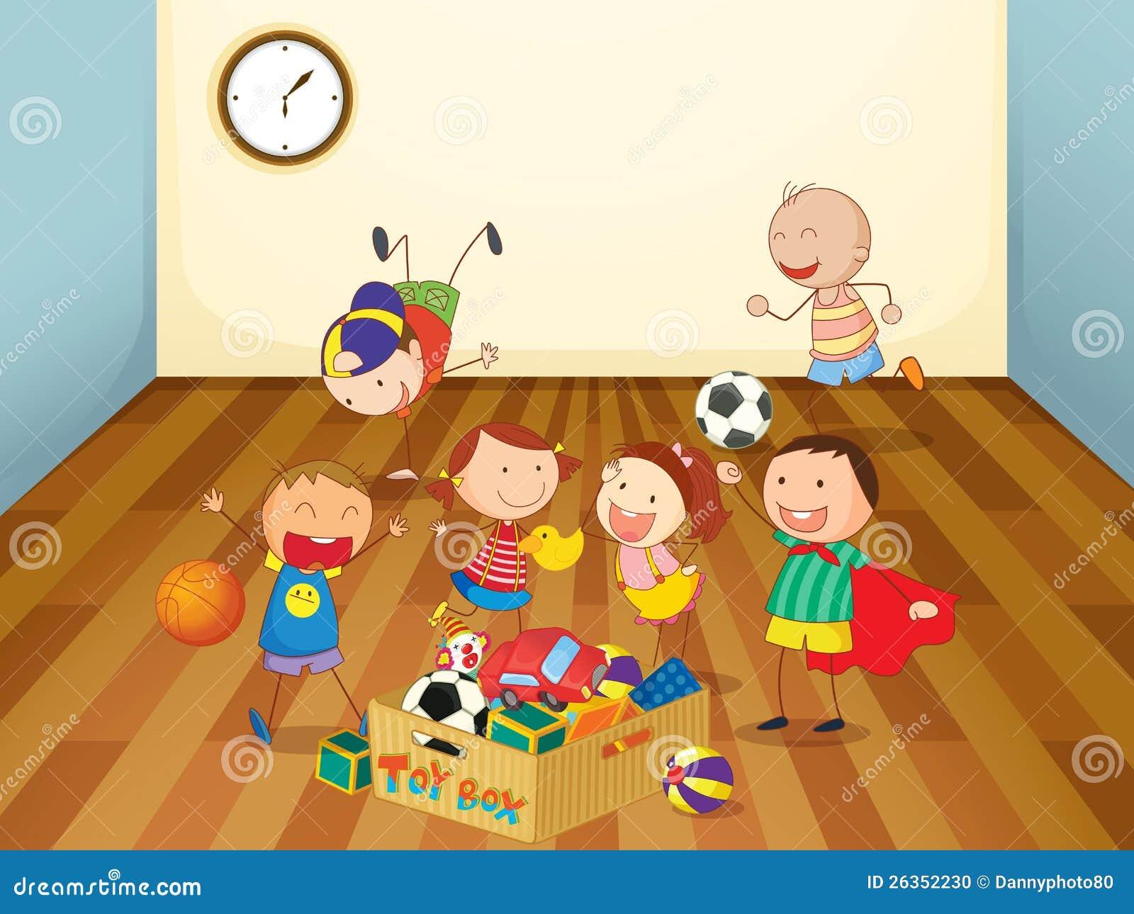 Kinder, die in einem Raum spielen