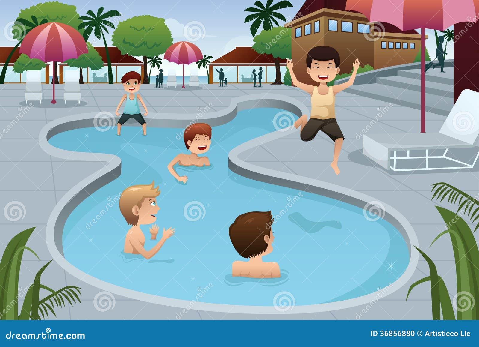 kinder die in einem swimmingpool im freien spielen stockfoto bild 36856880. Black Bedroom Furniture Sets. Home Design Ideas