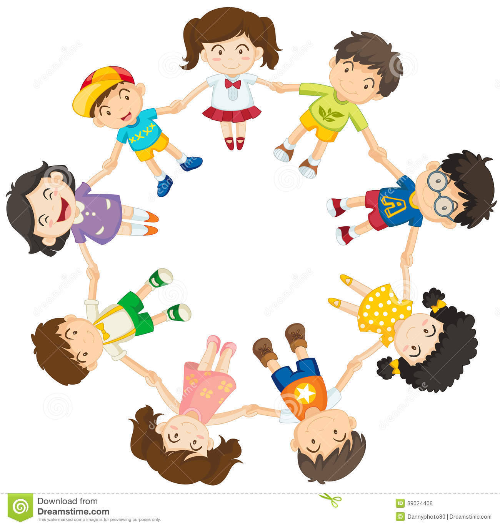 Kinder, Die Einen Kreis Bilden Vektor Abbildung   Bild: 39024406