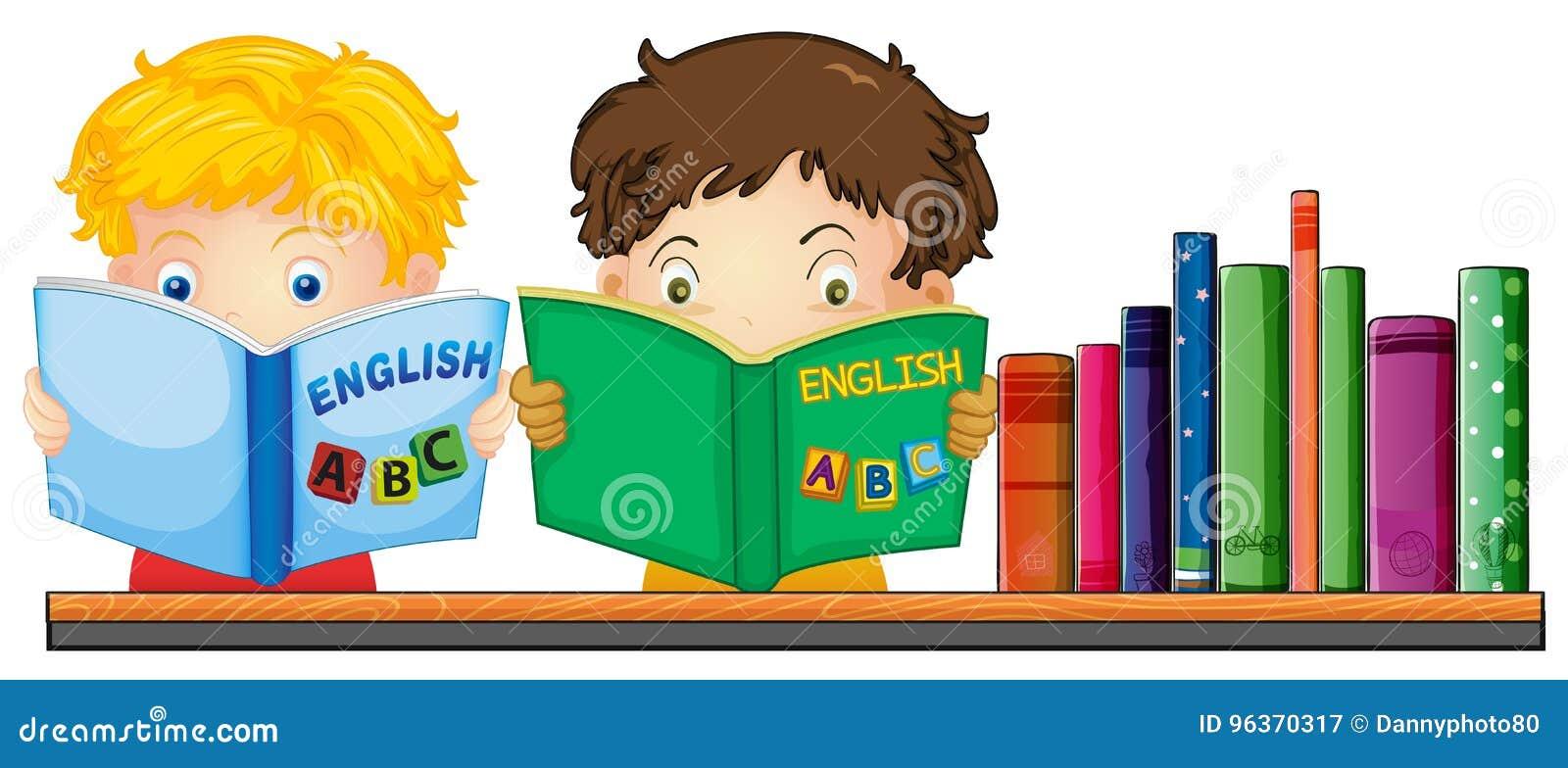 kinder, die englisches buch lesen vektor abbildung - illustration