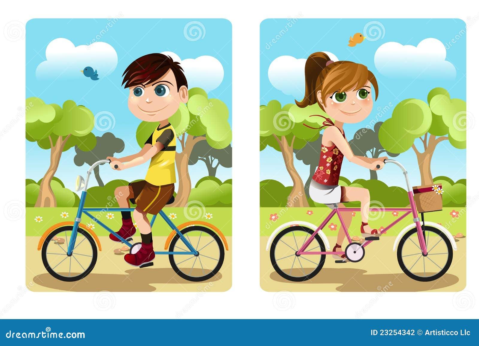 Kids On Bikes Free Clip Art