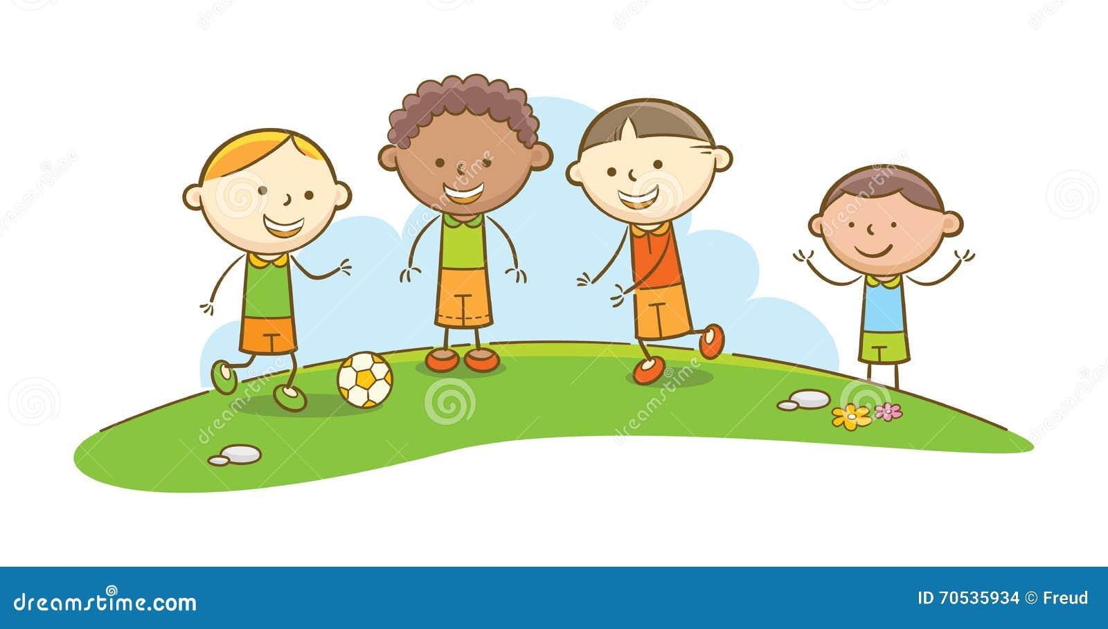 Kinder Die Fussball Spielen Vektor Abbildung Illustration