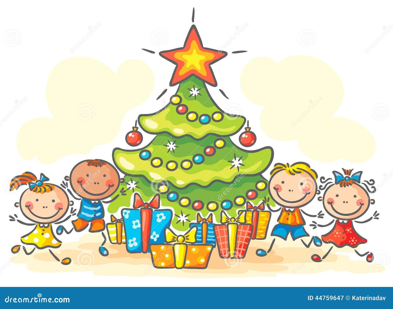 kinder die geschenke f r weihnachten erhalten vektor. Black Bedroom Furniture Sets. Home Design Ideas