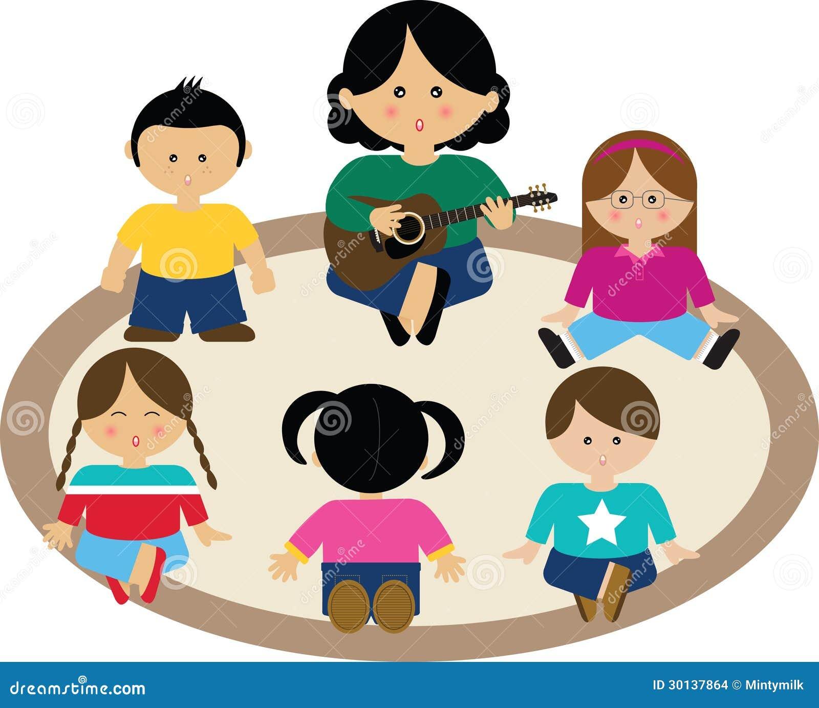 Kinder Die Gruppe Singen Stock Abbildung Illustration