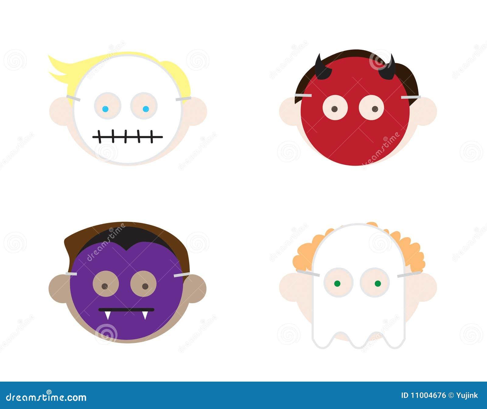 Kinder, Die Halloween-Schablonen Tragen Vektor Abbildung ...