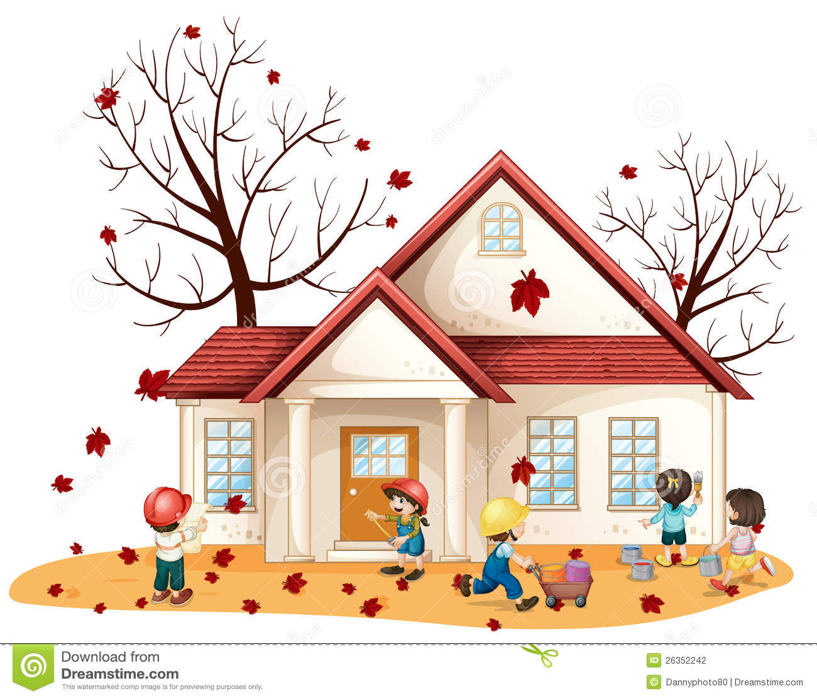 Kinder, die Haus säubern