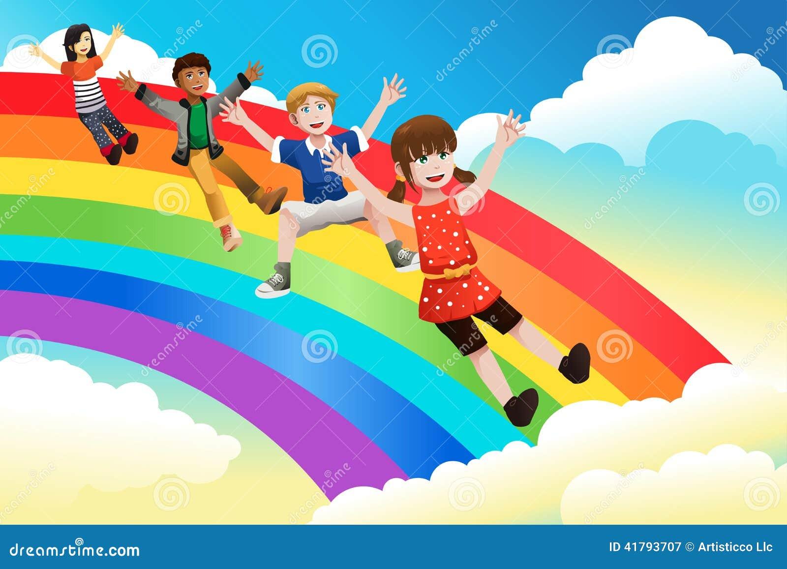 Kinder, die hinunter den Regenbogen schieben