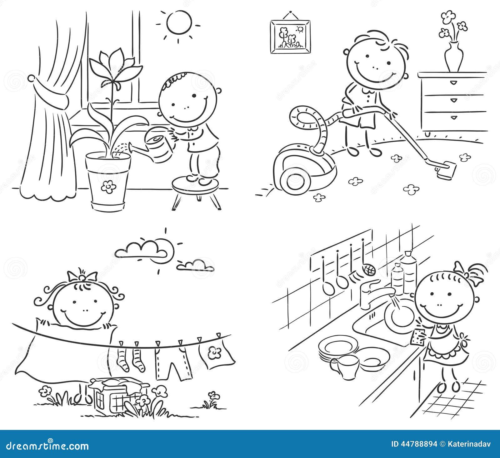 kinder die ihren eltern mit der hausarbeit helfen vektor. Black Bedroom Furniture Sets. Home Design Ideas