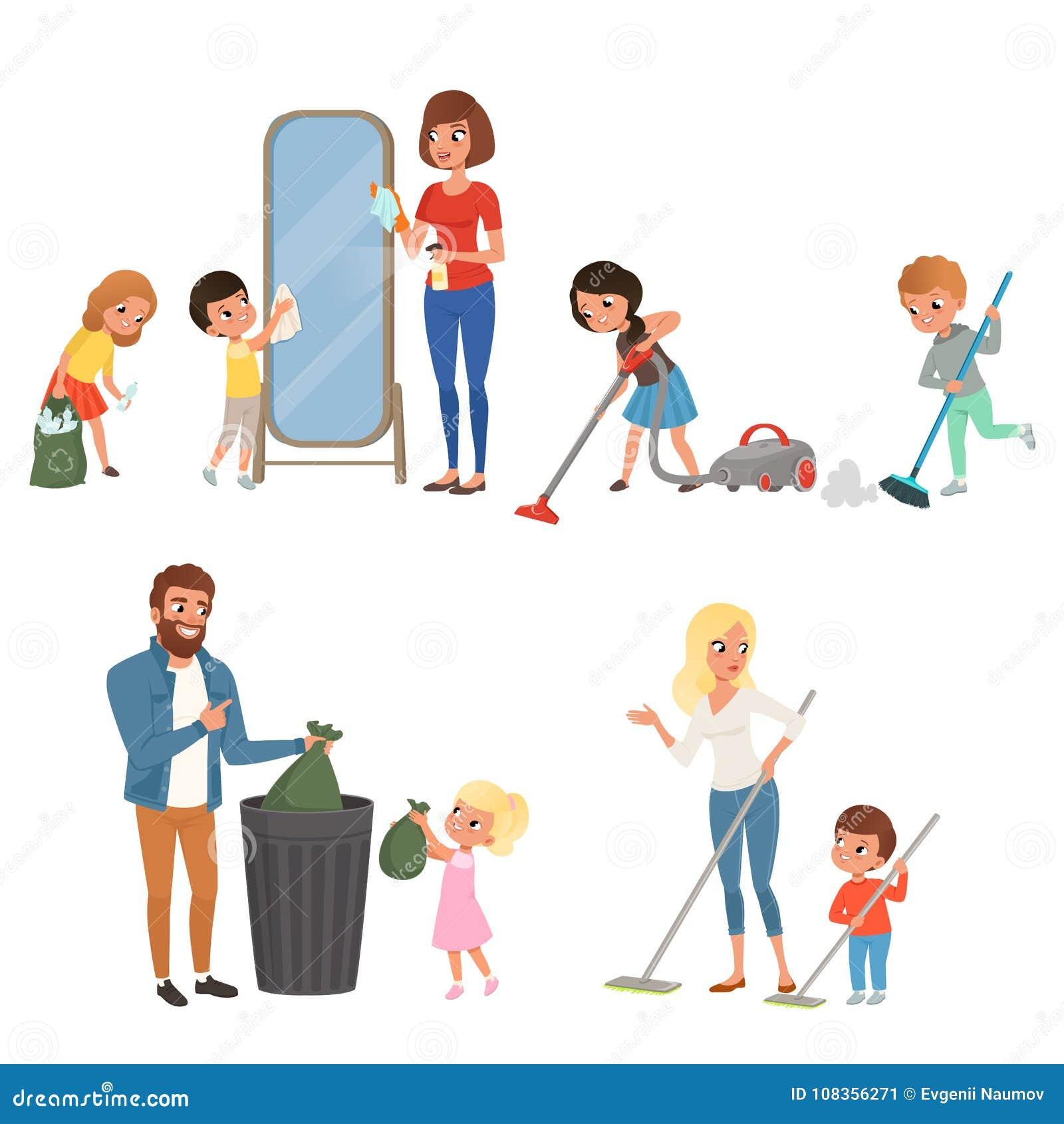 Kinder, die ihren Eltern mit Hausarbeit helfen Fegen, Staub saugend, waschender Boden und heraus werfen Abfall, Reinigungsspiegel