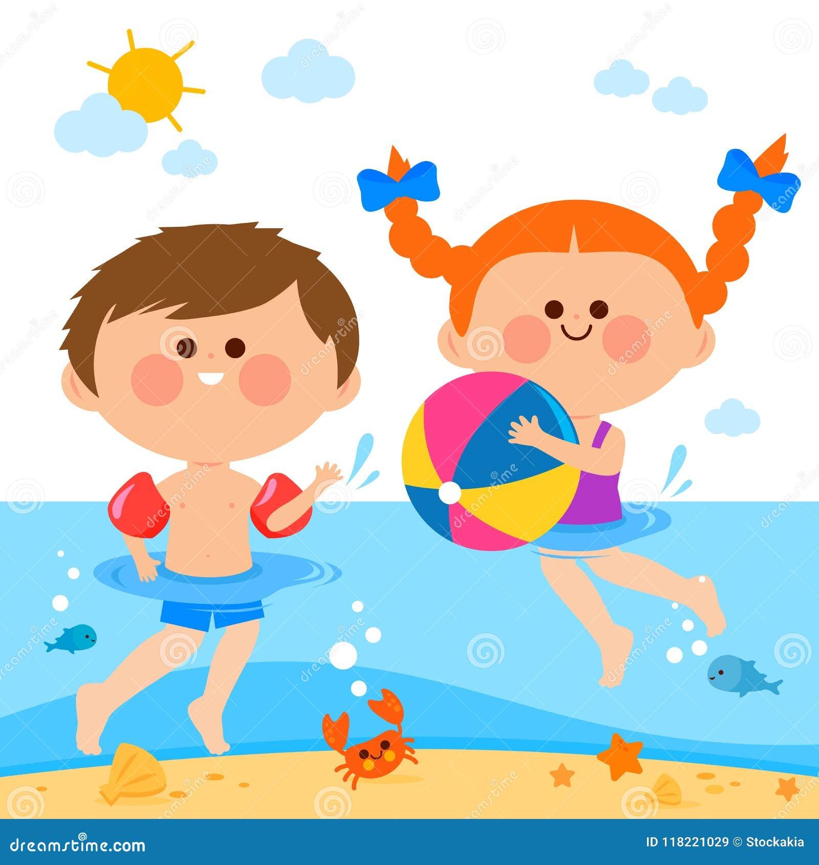 Kinder, Die Im Meer Schwimmen Vektor Abbildung ...