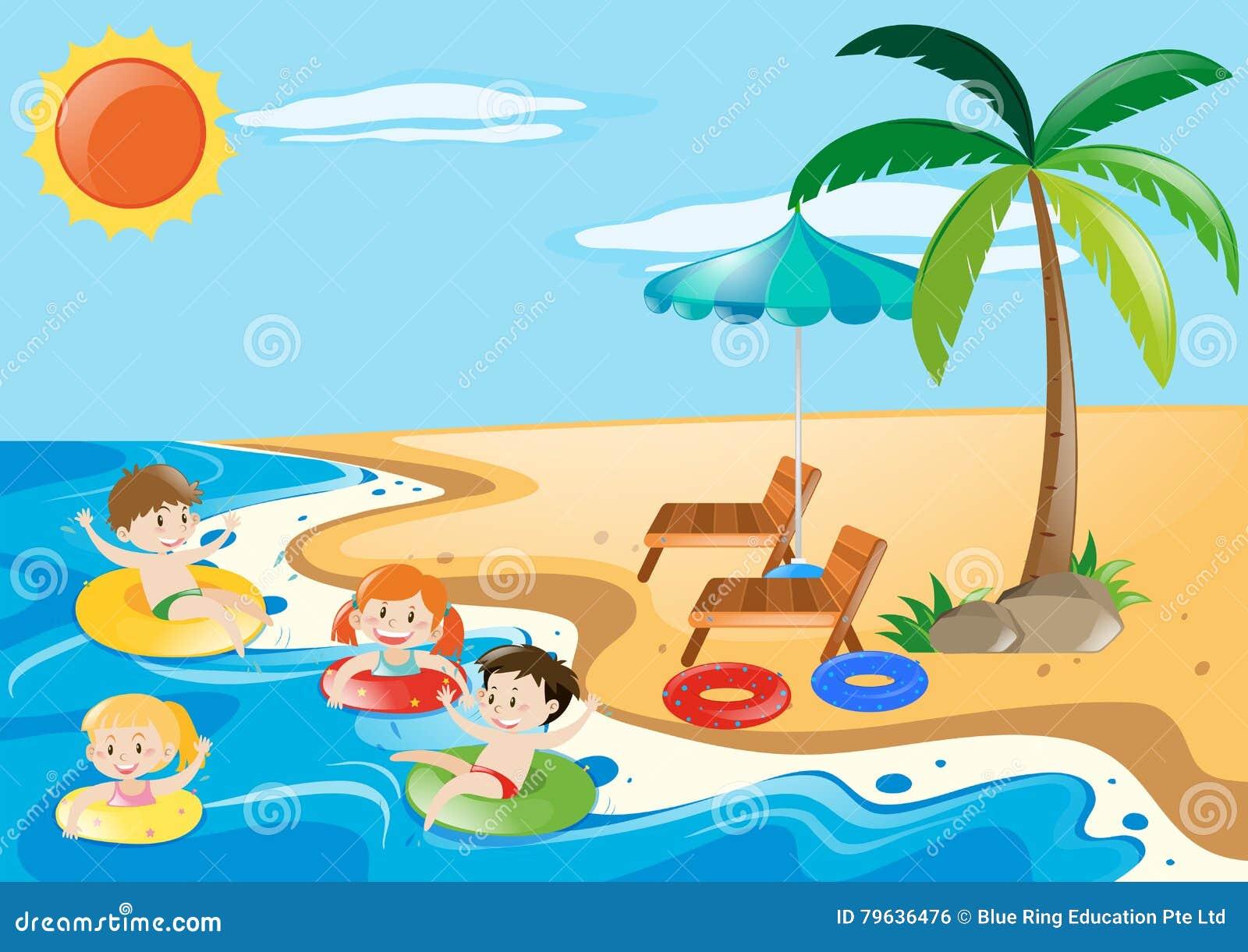 Kinder, Die Im Meer Schwimmen Stock Abbildung ...