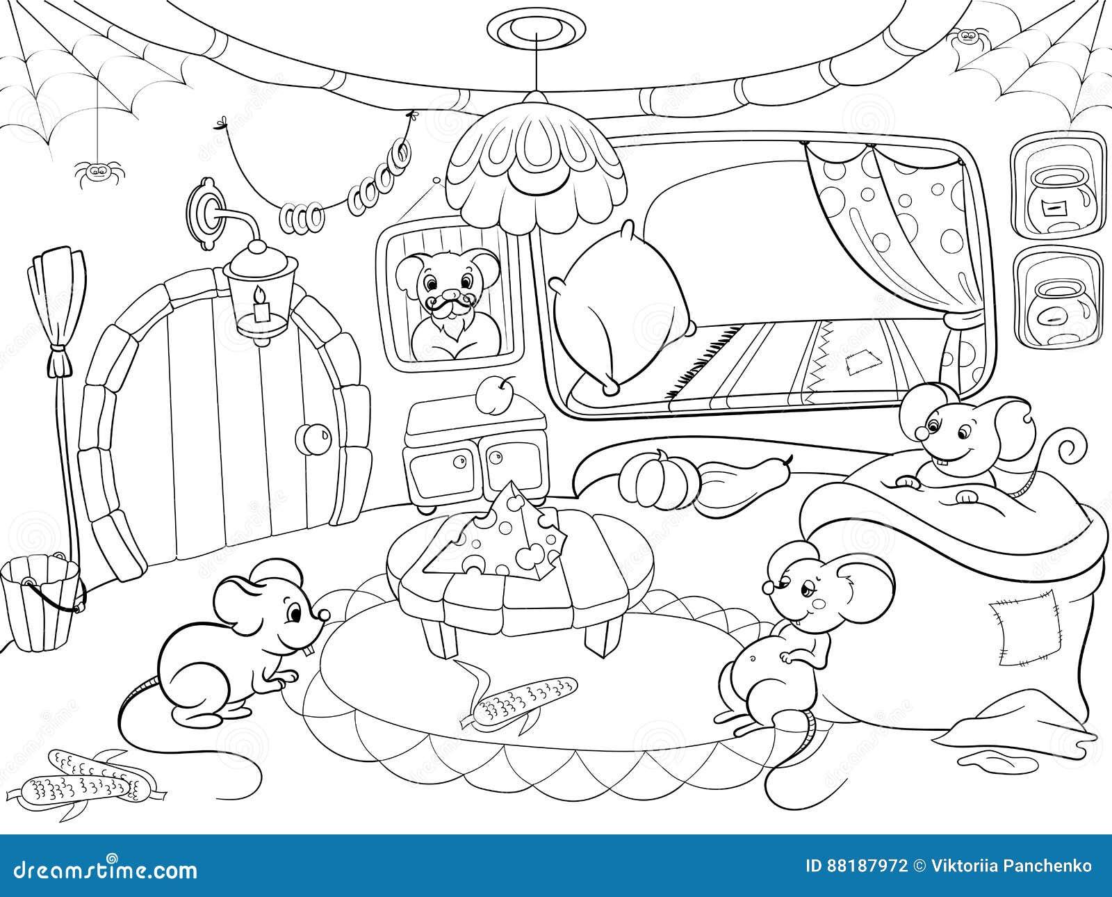 Kinder, Die Karikaturhausfamilien-Mäusevektor Färben Vektor ...