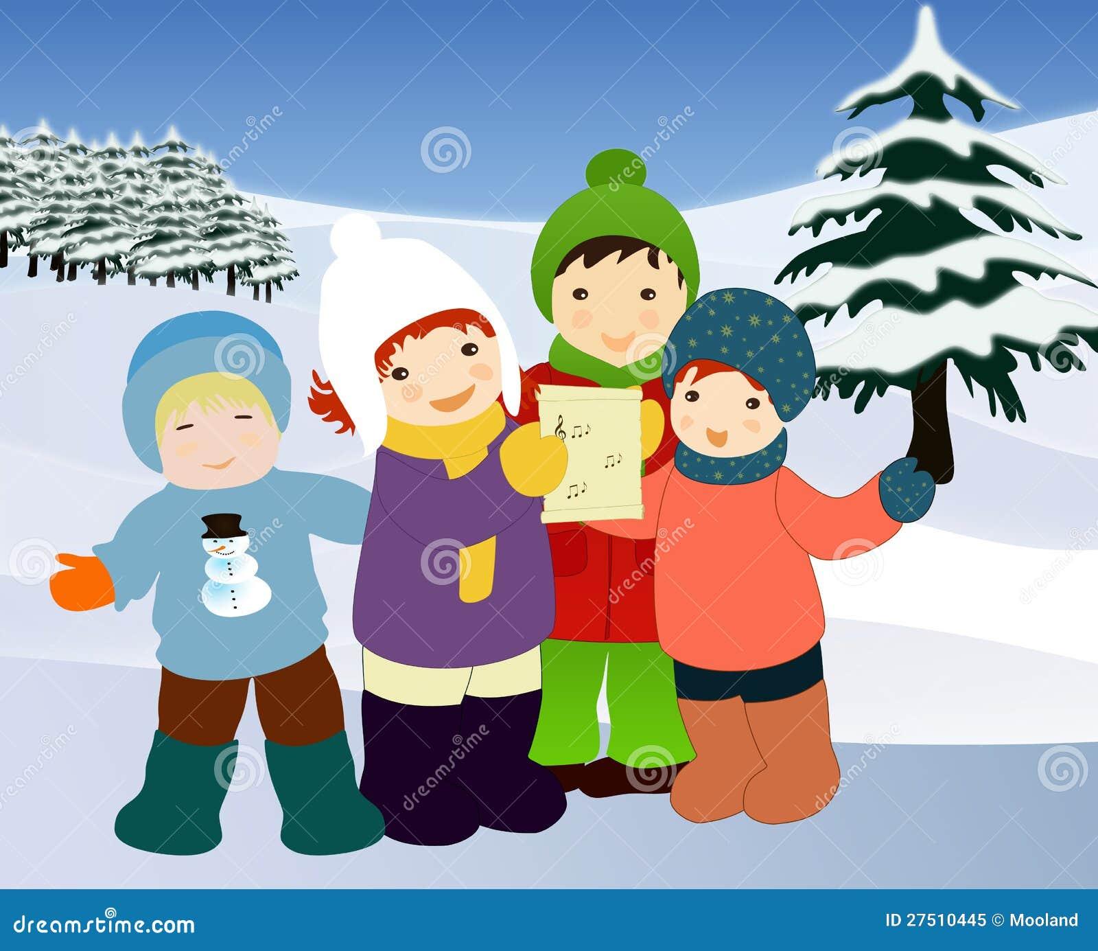 Kinder, die Liede singen. Weihnachtsabbildung.