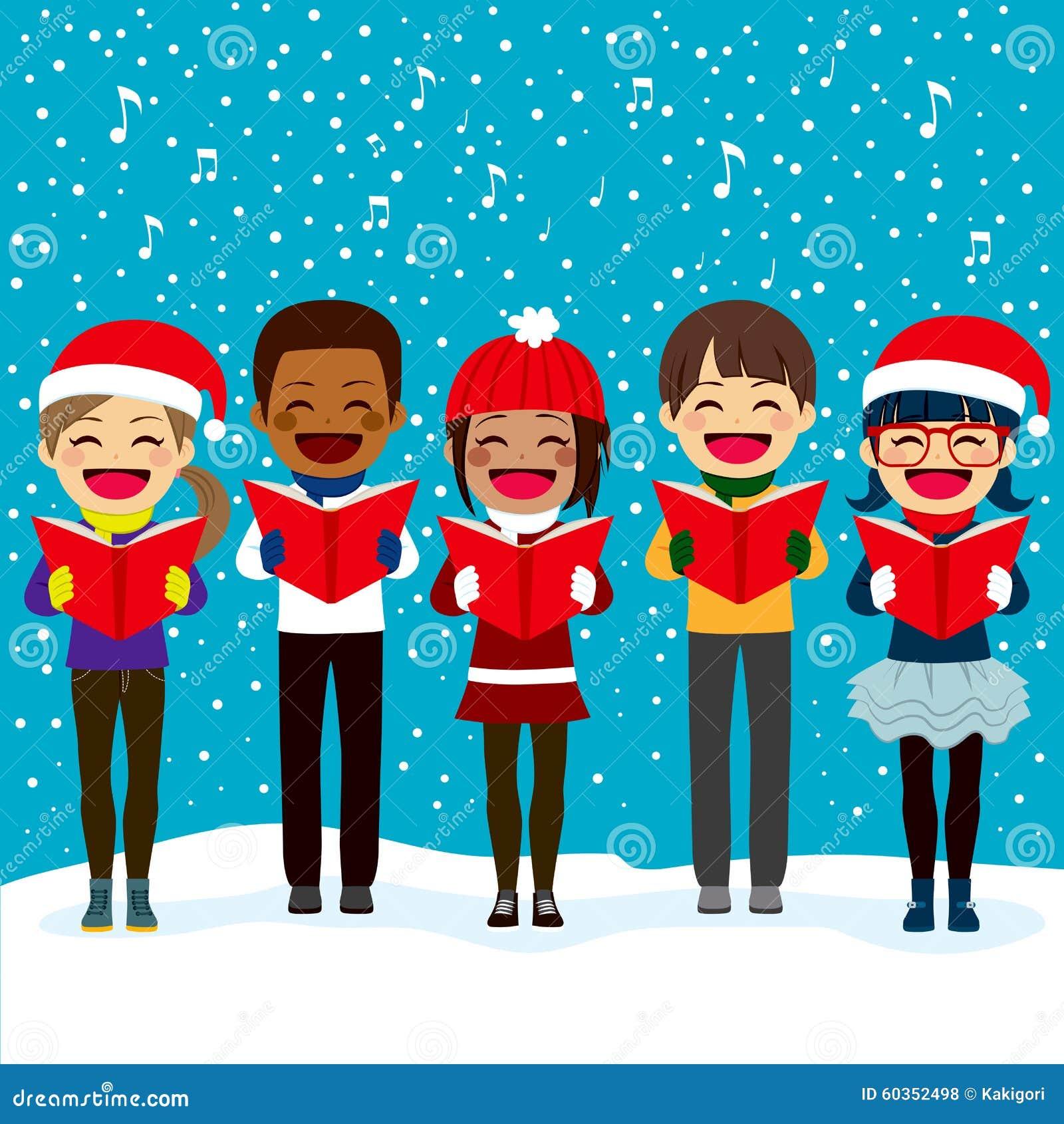 Kinder, Die Liede Am Weihnachten Singen Vektor Abbildung ...