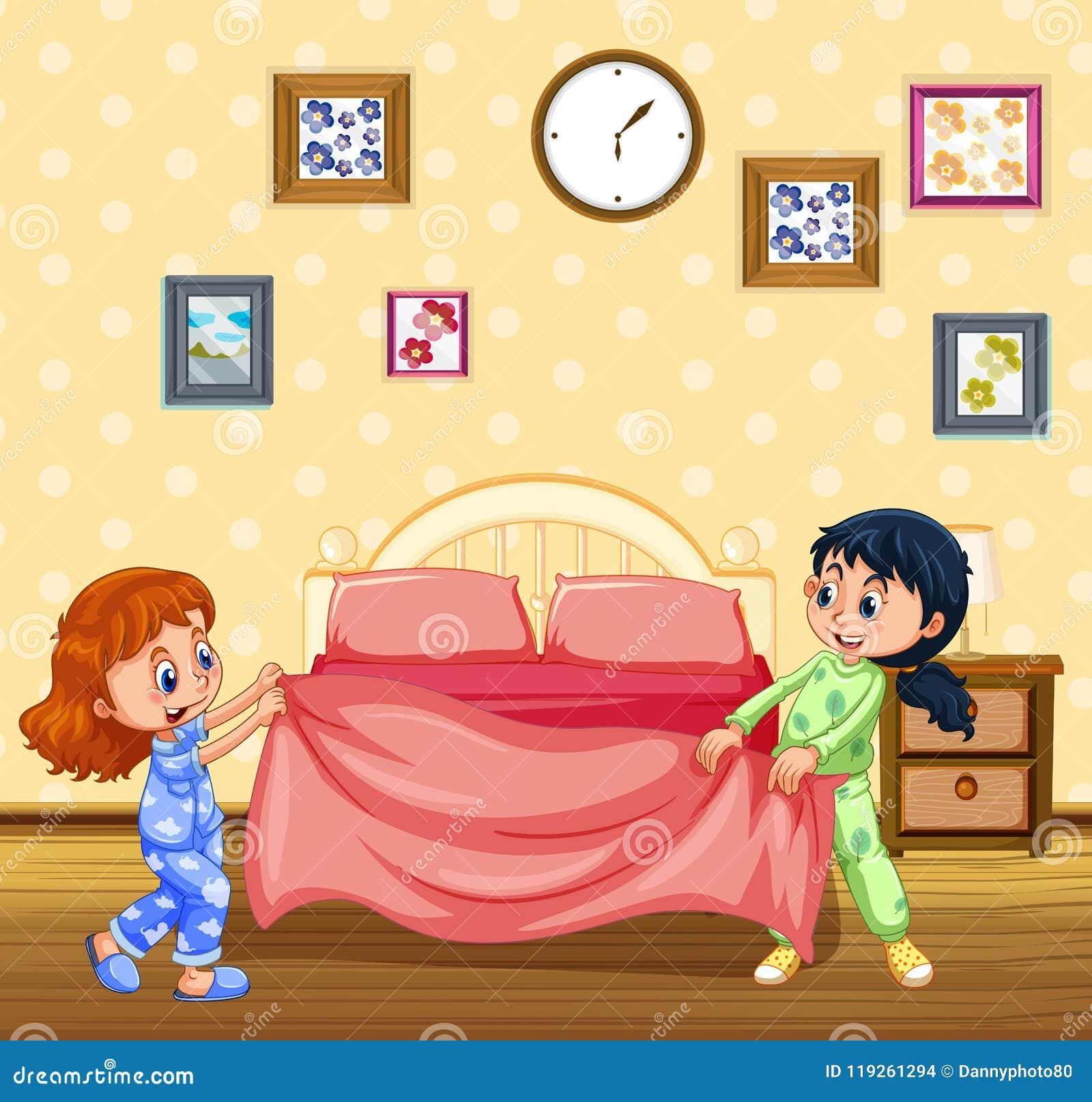 kinder die morgens bett machen vektor abbildung illustration von zeichnung freunde 119261294. Black Bedroom Furniture Sets. Home Design Ideas