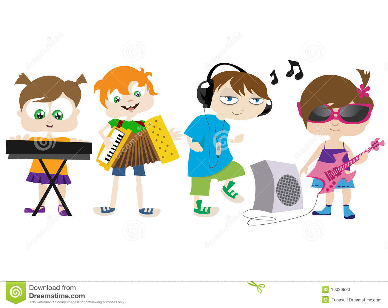 Clip Art Kid With A Band Instrument