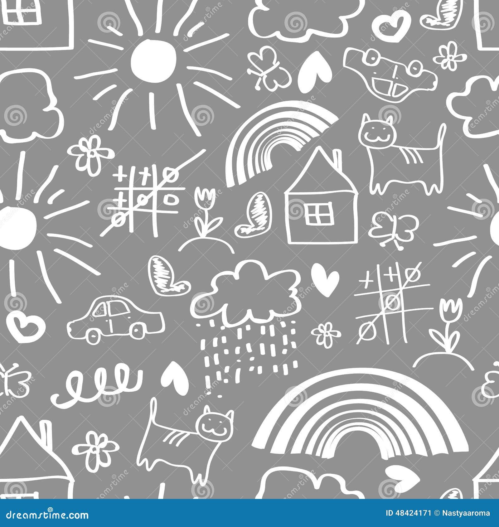 Kinder Die Nahtloses Muster Zeichnen Vektor Abbildung