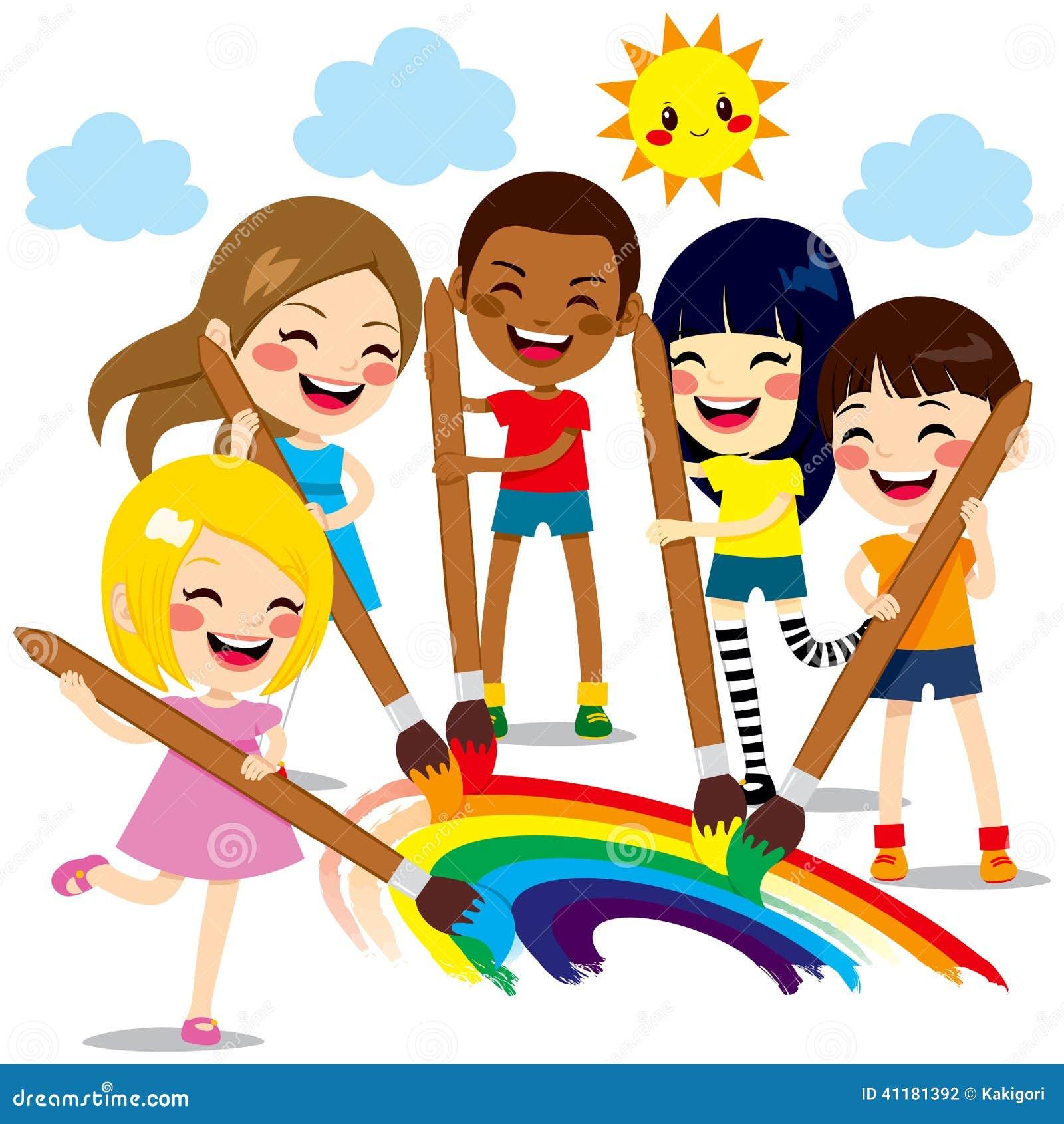 Kinder, Die Regenbogen Malen Vektor Abbildung ...