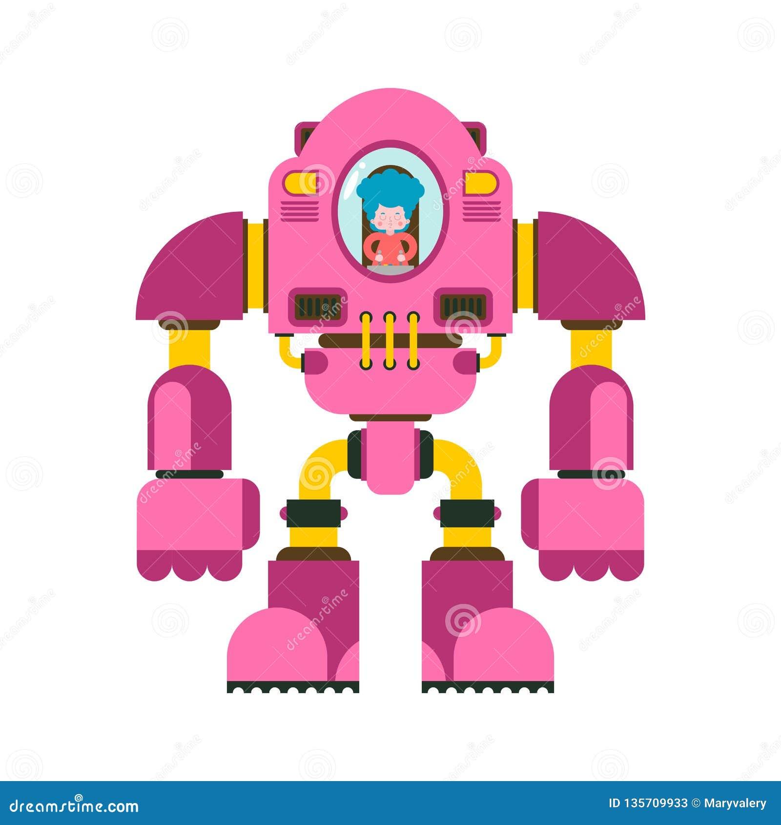 Kinder, die Roboter kämpfen Wenig Mädchen Exoskeleton Roboterskelett der mechanischen Technologie Eisenklagenroboter Metallische