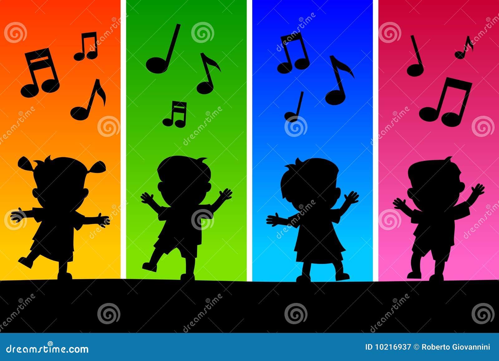Kinder Die Schattenbilder Tanzen Vektor Abbildung