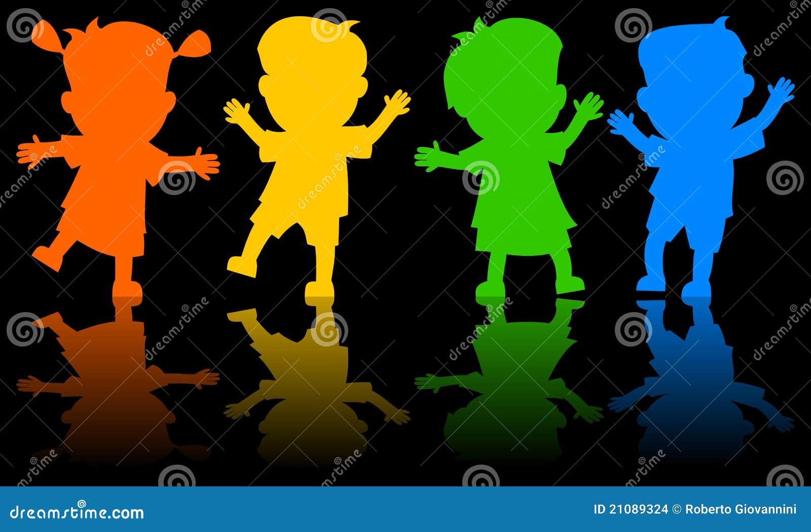 Kinder die schattenbilder tanzen vektor abbildung - Schattenbilder kinder ...