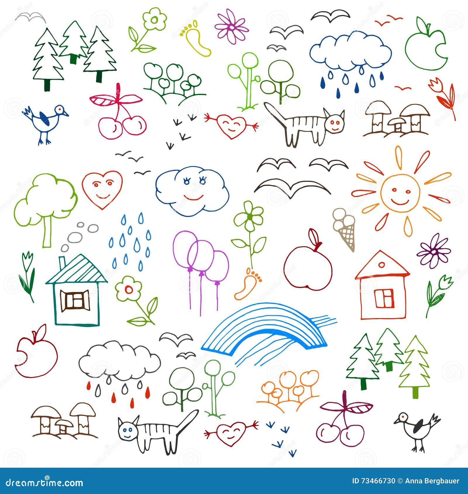 Kinder Die Vektor Zeichnen Vektor Abbildung Illustration Von