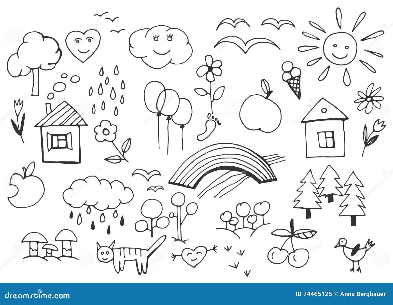 Kinder Die Vektor Zeichnen Vektor Abbildung Illustration Von Spass