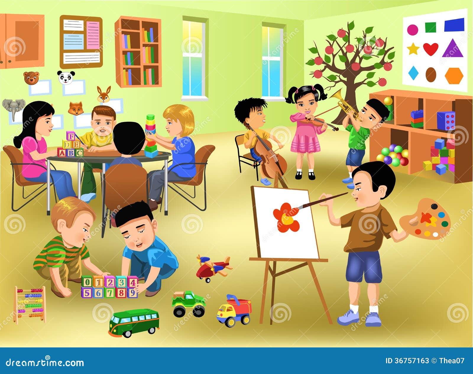 Kinder, die verschiedene Tätigkeiten im Kindergarten tun