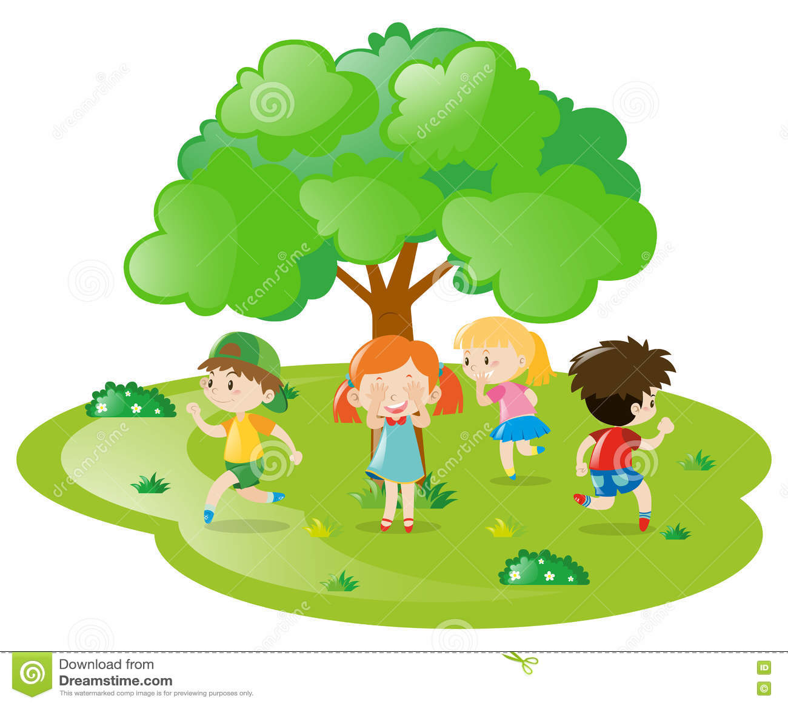Kinder, Die Verstecken Im Park Spielen Vektor Abbildung ...