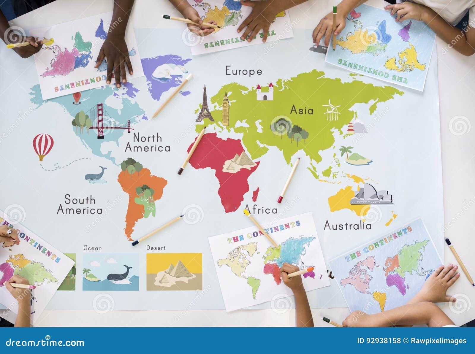 die weltkarte lernen Kinder, Die Weltkarte Mit Kontinent Land Ozean Geograph Lernen