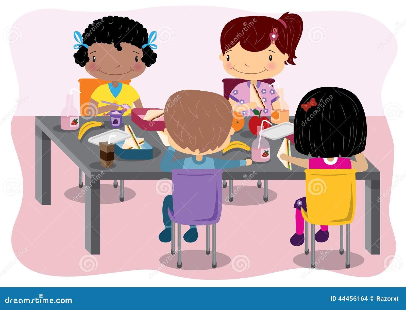 Kinder Die Zu Mittag Essen Vektor Abbildung Illustration Von