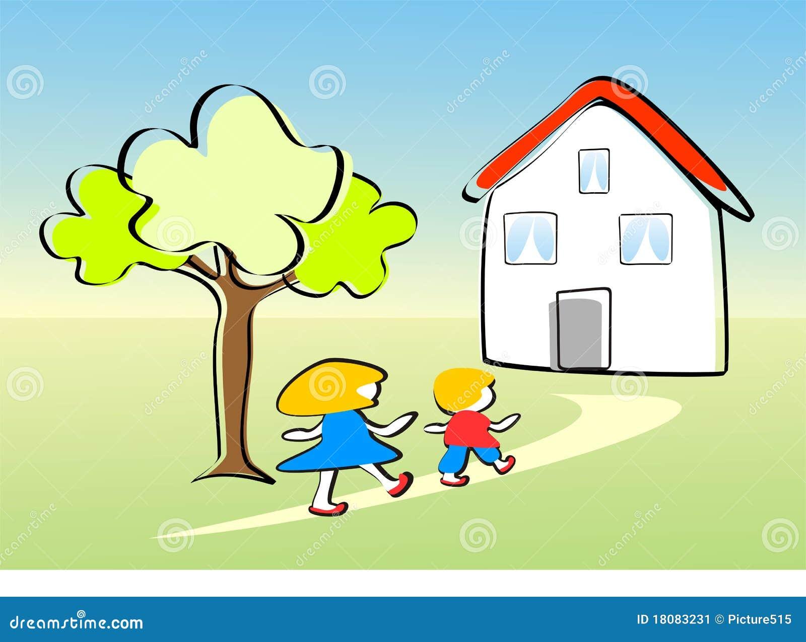 Kinder Gehen Nach Hause Glücklich Stock Abbildung