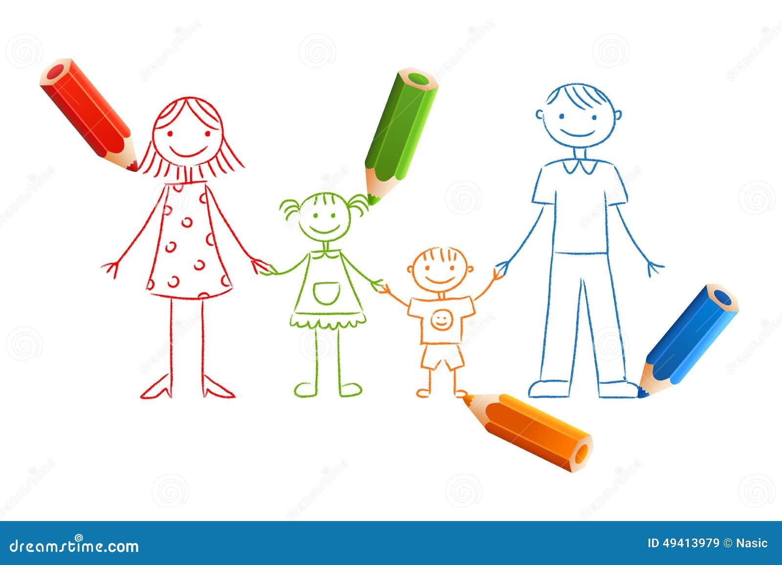 Download Kinder gezeichnete Familie vektor abbildung. Illustration von familie - 49413979