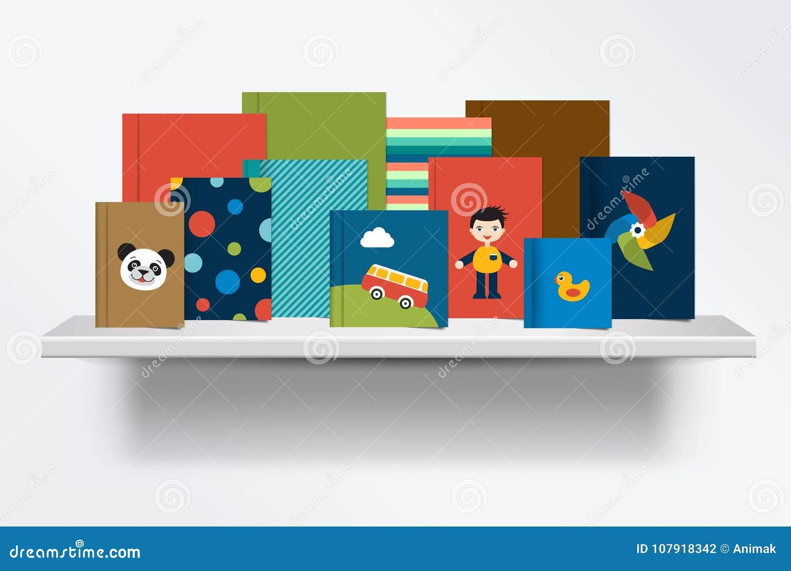 Kinder, Kindbücherregal Vorderansicht des Bucheinbandes stehend auf grauem Hintergrund mit Schatten