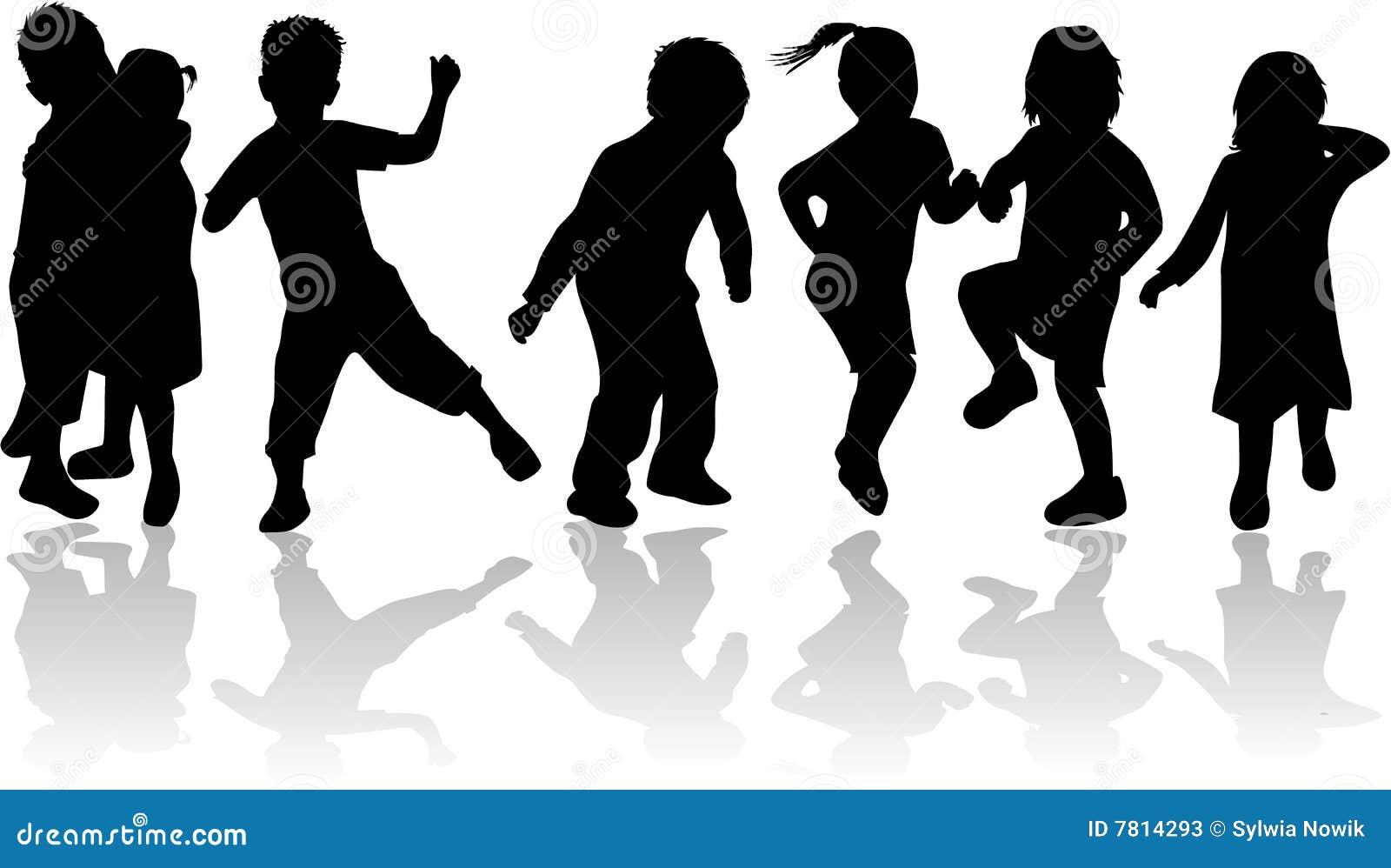 Kinder kinder schwarze schattenbilder stockfotos bild - Schattenbilder kinder ...