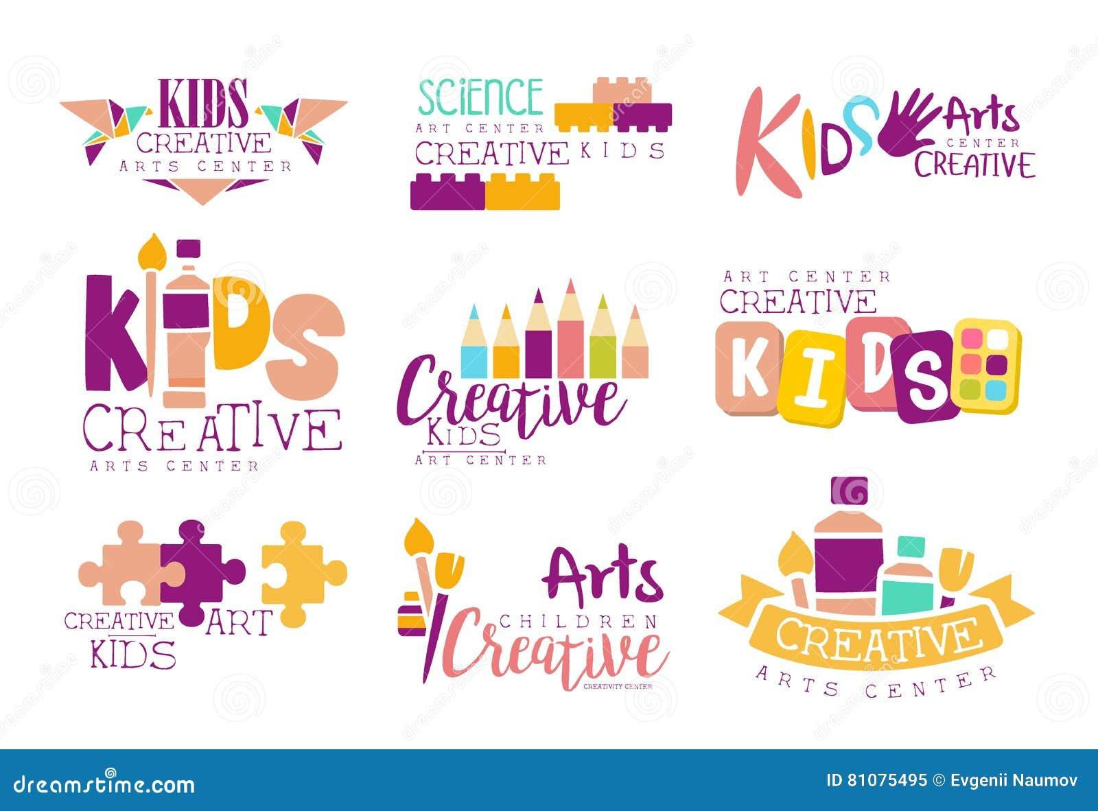 Kinder kreativ und Wissenschafts-Klassen-Schablonen-fördernde Logo Set With Symbols Of-Kunst und -kreativität, Malerei und Origam