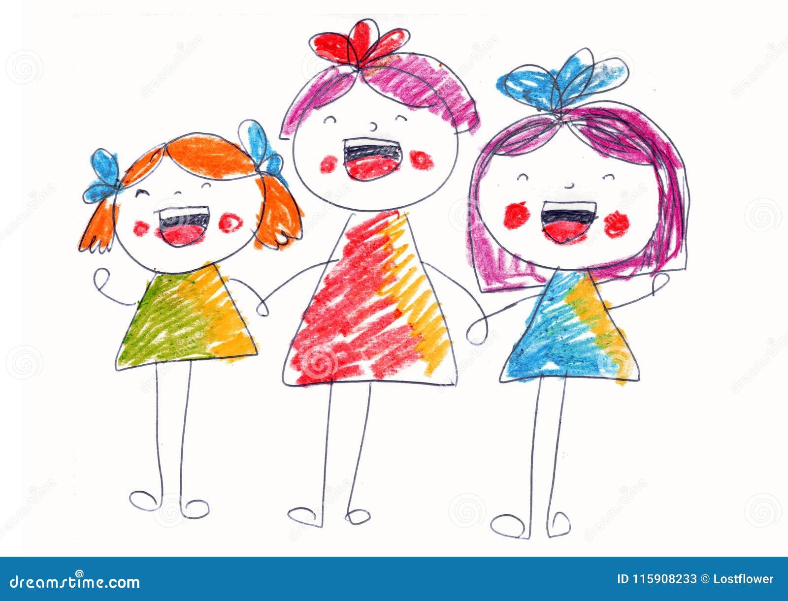 Kinder Lachen Und Singen Gluckliche Madchen Kinder Die Art Zeichnen