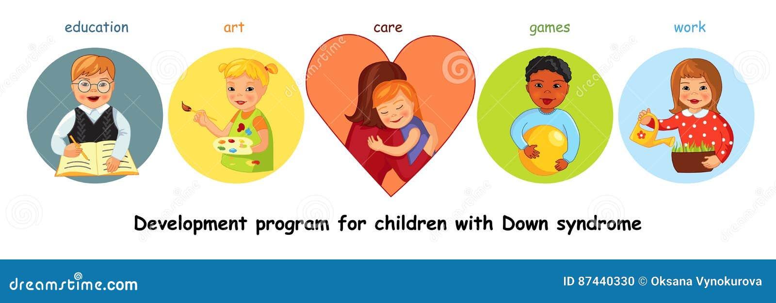 Kinder mit Down-Syndrom Entwicklung