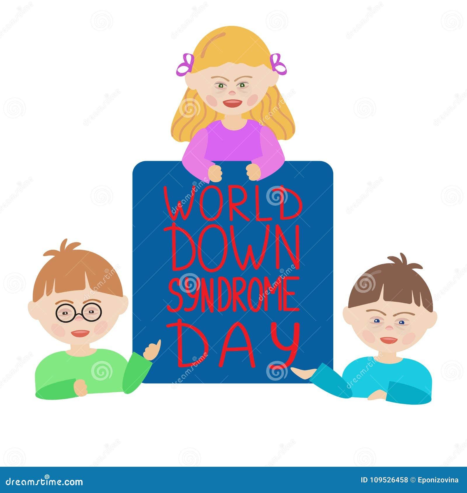 Kinder mit Down-Syndrom halten ein blaues Zeichen, das Welt-Down-Syndrom Tag sagt
